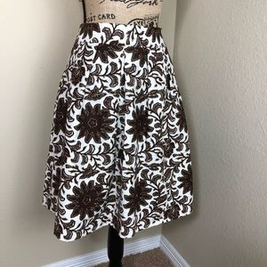 Talbots Brown Ivory Floral Linen Pleated Skirt 8